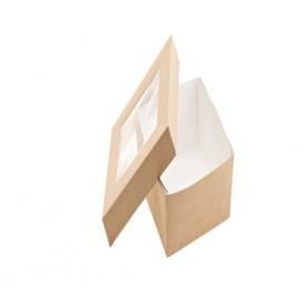 Box finestrato in poliestere mod. 136727 collezione TAKE AWAY monouso, 28 x 12 x h 4 cm (conf. 25 pezzi)