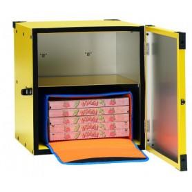 Box pizza non coibentato per ciclomotore mod. 133276, capacità 2 borse pizza ø 33 cm, 47x47x52h cm, colore giallo