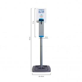 Colonna dispenser igienizzante a gomito in acciaio verniciato con cartello, base 40x40, H132 cm (igienizzante non incluso)