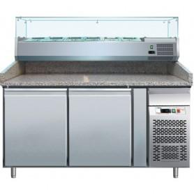 Banco refrigerato pizzeria ventilato mod. G-PZ2600TN Forcar, +2°+8°C, 2 porte, 151x80x100h cm, vetrina esclusa