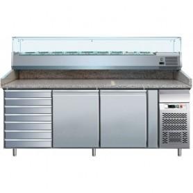 Banco refrigerato pizzeria ventilato mod. G-PZ2610TN Forcar, +2°+8°C, 2 porte + cassettiera, 203x80x100h cm, vetrina esclusa
