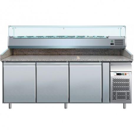 Banco refrigerato pizzeria ventilato mod. G-PZ3600TN Forcar, +2°+8°C, 3 porte, 202x80x100h cm, vetrina esclusa