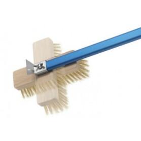 Spazzola professionale orientabile linea Azzurra Gi.metal, setole in ottone, manico in alluminio anodizzato