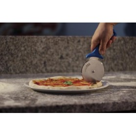 Rotella taglia pizza professionale mod. AC-ROP6 linea Azzurra Gi.metal, lama ø 10 cm riaffilabile, manico ergonomico