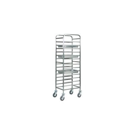 Carrello portateglie mod. CA1479 Forcar, cap. 14 GN 1/1, struttura e guide in acciaio inox, 45x66x182h cm