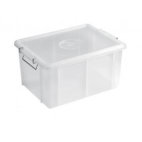 Cassetta box con coperchio in polipropilene Giganplast, maniglie in ferro zincato, disponibile in 5 misure