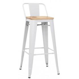 Sgabello per interni mod. 1083-MC012W in metallo verniciato, seduta in legno, colore bianco