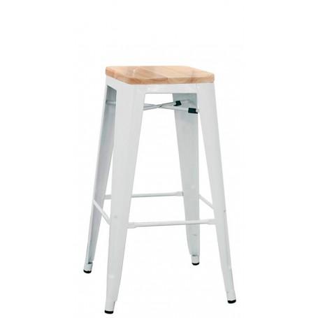 Sgabello per interno mod. 1082-BT503W in metallo verniciato, seduta in legno, colore bianco