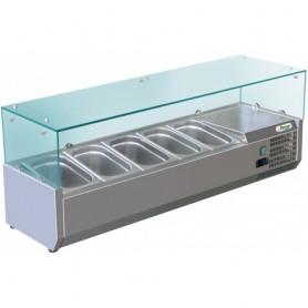 Vetrina refrigerata statica per pizzeria mod. G-RI12033V Forcar, +2°+8°C, cap. 5 bacinelle x GN 1/4 (non incluse)
