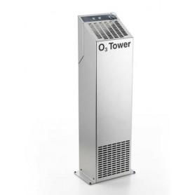 Sanificatore da pavimento all'ozono mod. O3 Tower 28, produzione O3 g/h 28, in acciaio inox Aisi 304, per ambienti fino a 360 mq
