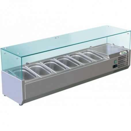 Vetrina refrigerata statica per pizzeria mod. G-RI14033V Forcar, +2°+8°C, cap. 6 bacinelle x GN 1/4 (non incluse)