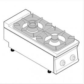 Cucina a gas 2 fuochi da banco serie Tecno90 mod.PCG4G9 Tecnoinox, griglie in ghisa, 14,5kW, 40x90x28 cm