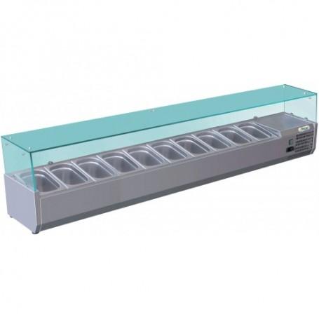 Vetrina refrigerata statica per pizzeria mod. G-RI20033V Forcar, +2°+8°C, cap. 10 bacinelle x GN 1/4 (non incluse)