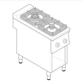 Cucina a gas 2 fuochi su vano aperto serie Tecno90 mod.PCG4FG9 Tecnoinox, griglie in ghisa, 14,5 kW, 40x90x90 cm