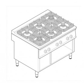 Cucina a gas 6 fuochi su vano aperto serie Tecno90 mod. PCG12FG9 Tecnoinox, griglie in ghisa, 40kW, 120x90x90 cm