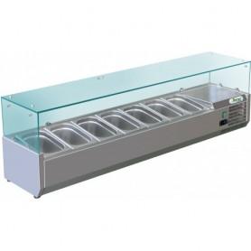 Vetrina refrigerata statica per pizzeria mod. G-RI15033V Forcar, +2°+8°C, cap. 7 bacinelle x GN 1/4 (non incluse)