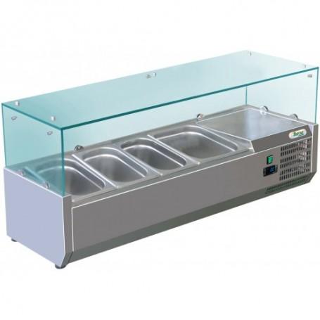 Vetrina refrigerata statica pizzeria mod. G-RI12038V Forcar, +2°+8°C, cap. 3 bacinelle x GN1/3 + 1bacinella GN1/2 (non incluse)