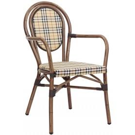 Poltroncina per esterno mod. 1162-E80A in alluminio verniciato effetto bambù, tessuto in textilene, impilabile