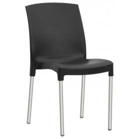 Sedia per esterno mod.1579-TJE Rossanse, gambe in alluminio, scocca in polipropilene, impilabile, disponibile in 5 colori
