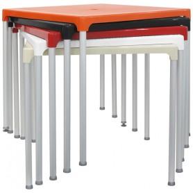 Tavolo per esterno mod. 807-TIB Rossanese, struttura in alluminio, piano in polipropilene, 4 colori, 75x75 cm, impilabile