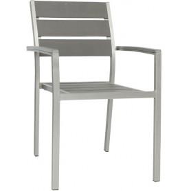 Poltrona per esterno mod.899-HA30 Rossanese, struttura in alluminio satinato, seduta e schienale materiale composito, impilabile