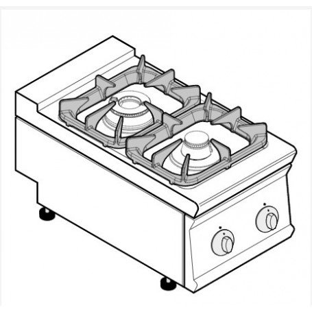 Cucina a gas 2 fuochi da banco serie Tecno74 mod.PCG4G7 Tecnoinox, griglie in ghisa, 10,5 kW, 40x70x28 cm