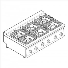 Cucina a gas 6 fuochi da banco serie Tecno74 mod.PCG12G7 Tecnoinox, griglie in ghisa, 30 kW, 120x70x28 cm