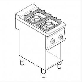 Cucina a gas 2 fuochi SUPER su vano aperto serie Tecno74 mod.PCG4FSG7 Tecnoinox, griglie in ghisa, 14,5 kW, 40x70x90 cm