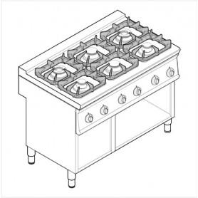 Cucina a gas 6 fuochi su vano aperto serie Tecno74 mod.PCG12FG7 Tecnoinox, griglie in ghisa, 30 kW, 120x70x90 cm