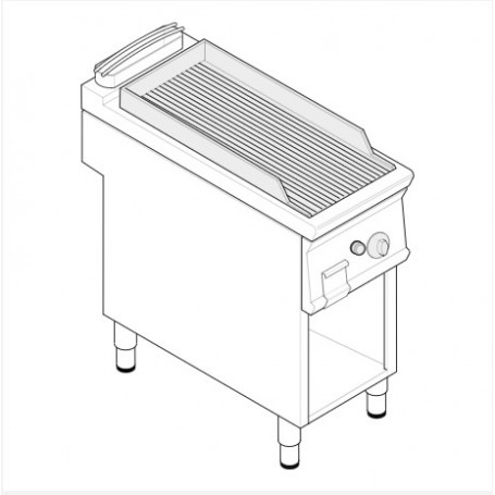 Fry top a gas piastra rigata in acciaio sabbiato su vano aperto serie Tecno74 mod.FTR4FG7 Tecnoinox, 7 kW, 40x70x90 cm