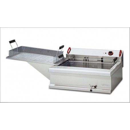 Friggitrice elettrica pasticceria da banco mod. FPE-25 Lotus, 1 vasca 24 litri, 70x42x17,5h cm, Trifase