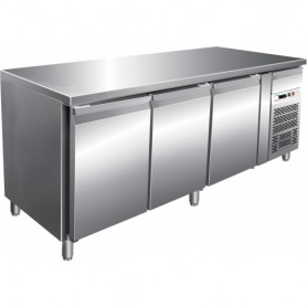 Tavolo refrigerato ventilato gastronomia 3 porte GN 1/1, -18°/-22°C, mod. G-GN3100BT/G-GN3200BT, 179,5x70x86h cm