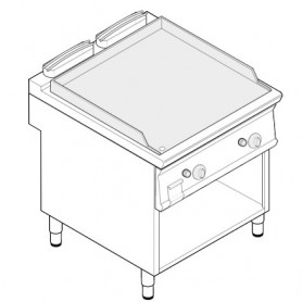 Fry top doppio a gas piastra liscia in acciaio sabbiato su vano aperto serie Tecno74 mod. FTL8FG7 Tecnoinox, 14 kW, 80x70x90 cm