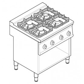 Cucina a gas 4 fuochi su vano aperto serie Tecno74 mod.PCG8FG7 Tecnoinox, griglie in ghisa, 19,5 kW, 80x70x90 cm