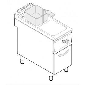 Friggitrice a gas 1 vasca 13 litri su vano chiuso serie Tecno74 mod.FRV43FG7 Tecnoinox, cestello e coperchio inclusi, 12 Kw
