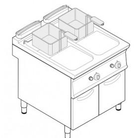 Friggitrice a gas 2 vasche 13+13 litri su vano chiuso serie Tecno74 mod.FRV83FG7 Tecnoinox, cestelli e coperchi inclusi, 24 Kw