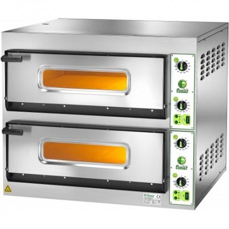 Forno elettrico pizzeria mod. FES 4+4 Fimar 2 camere h14cm, piano cottura refrattario, doppia porta con vetro, Monofase/Trifase