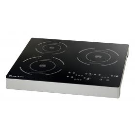 Piastra a induzione 3 zone da banco mod.105940 Karel, pannello di controllo touch, 510x485x60h mm, 3,4 Kw